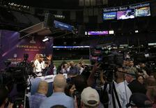 Baltimore Ravens inside linebacker Ray Lewis speaks to journalists during Media Day for the NFL's Super Bowl XLVII in New Orleans, Louisiana January 29, 2013. The San Francisco 49ers will meet the Ravens in the game on February 3. REUTERS/Sean Gardner