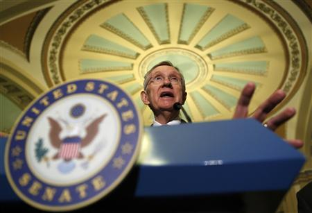 Senate Majority Leader Harry Reid (D-NV) speaks to reporters in the Capitol in Washington January 29, 2013. REUTERS/Kevin Lamarque