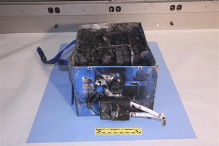 The burnt auxiliary power unit battery removed from a Japan Airlines Boeing 787 Dreamliner jet is seen in this picture provided by the U.S. National Transportation Safety Board (NTSB) and obtained by Reuters on January 15, 2013. REUTERS/U.S. National Transportation Safety Board/Handout