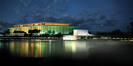 Handout image of architect Steven Holl's rendition of the proposed Kennedy Center Expansion Project in Washington. The John F. Kennedy Center for the Performing Arts is planning a $100 million addition, including an outdoor floating stage on the Potomac River, in its first major expansion since it opened in 1971. Three connected pavilions to house classrooms, rehearsal rooms, lecture space and other facilities were also included in initial plans for the U.S. capital's premier performance space, which were laid out on Tuesday. REUTERS/Steven Holl Architects/Handout