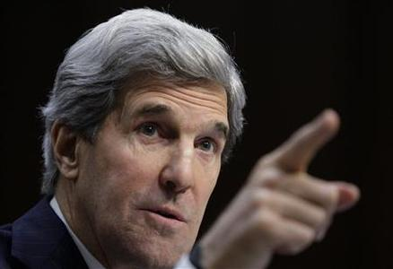 U.S. Senator John Kerry (D-MA) testifies during his Senate Foreign Relations Committee confirmation hearing to be secretary of state, on Capitol Hill in Washington, in this January 24, 2013 file photo. REUTERS/Jonathan Ernst/Files