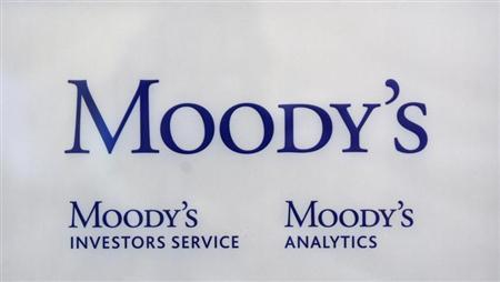 The logo of credit rating agency Moody's Investor Services is seen outside the office in Paris October 24, 2011. REUTERS/Philippe Wojazer