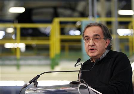 Fiat-Chrysler chief executive Sergio Marchionne makes his speech during the visit of Italy's Prime Minister Mario Monti at the Fiat car factory in the southern city of Melfi December 20, 2012. REUTERS/Ciro De Luca