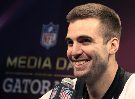 Baltimore Ravens quarterback Joe Flacco answers questions from journalists during Media Day for the NFL's Super Bowl XLVII in New Orleans, Louisiana January 29, 2013. The San Francisco 49ers will meet the Ravens in the game on February 3. REUTERS/Sean Gardner