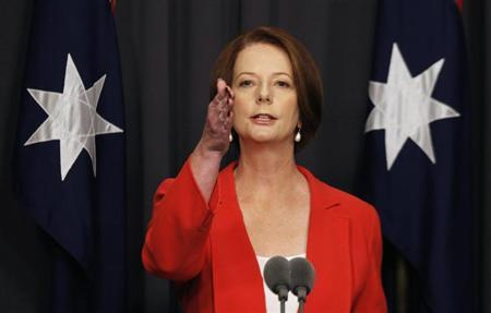 Australia's Prime Minister Julia Gillard gestures during a news conference at Parliament House in Canberra February 27, 2012. REUTERS/Daniel Munoz/Files