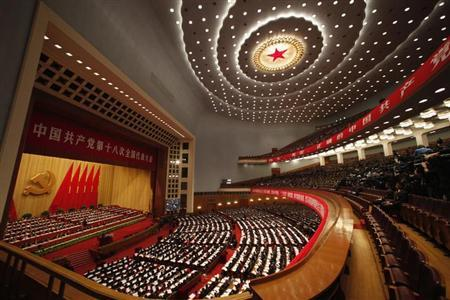 A general view showing delegates attend the opening ceremony of 18th National Congress of the Communist Party of China at the Great Hall of the People in Beijing, November 8, 2012. REUTERS/Carlos Barria/Files