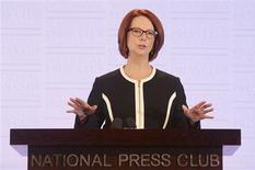 Australian Prime Minister Julia Gillard speaks at the National Press Club in Canberra January 30, 2013. Gillard stunned voters on Wednesday by setting a national election for September 14, eight months away, in her first major political speech for 2013. Elections must be held in Australia by the end of the year, but Gillard said she wanted to end political uncertainty by setting the date now. REUTERS/Stringer