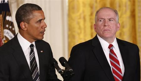 White House counterterrorism advisor John Brennan (R) listens as U.S. President Barack Obama nominates him to become the next CIA director at the White House in Washington January 7, 2013. REUTERS/Kevin Lamarque