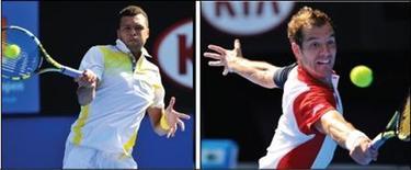 A l'heure de démarrer la Coupe Davis vendredi face à Israël, le tennis français peut se targuer de compter dans ses rangs deux membres du Top 10, Jo-Wilfried Tsonga, huitième mondial et Richard Gasquet, dixième, ainsi qu'une pléiade de joueurs pouvant les seconder. /Photos d'archives/Toby Melville