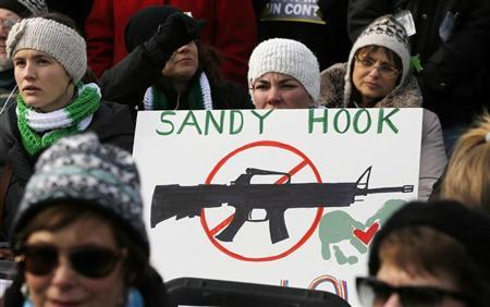 People hold signs memorializing Sandy Hook Elementary School, where 26 children and adults were killed in a mass shooting in December, as they participate in the March on Washington for Gun Control on the National Mall in Washington, January 26, 2013. REUTERS/Jonathan Ernst