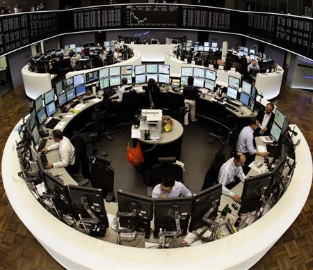 The trading floor is pictured with a super wide angle lens at Frankfurt's stock exchange August 9, 2011.