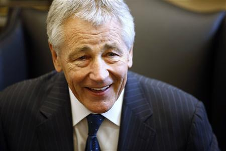 Chuck Hagel reacts during meeting on Capitol Hill in Washington in this January 23, 2013 file photo. As Hagel, President Barack Obama's nominee to lead the Pentagon, prepared to meet with senior New York Senator Chuck Schumer in mid-January, the White House stepped in and ensured that the get-together would take place quickly - and in the West Wing. Hagel, 66, a decorated Vietnam War veteran and former two-term Republican senator, emerged as a leading candidate to replace Leon Panetta almost as quickly as the defense secretary announced his retirement. REUTERS/Jason Reed/Files
