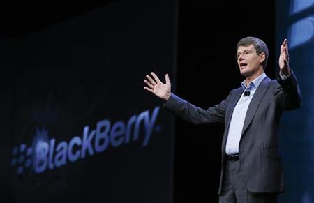 Research in Motion (RIM) President and Chief Executive Officer Thorsten Heins gestures during the launch of the RIM Blackberry 10 devices in New York January 30, 2013. REUTERS/Shannon Stapleton