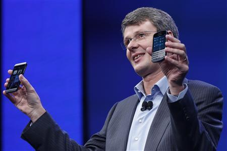 Research in Motion (RIM) President and Chief Executive Officer Thorsten Heins introduces new RIM Blackberry 10 devices during their launch in New York January 30, 2013. REUTERS-Shannon Stapleton (UNITED STATES - Tags: BUSINESS SCIENCE TECHNOLOGY TELECOMS)