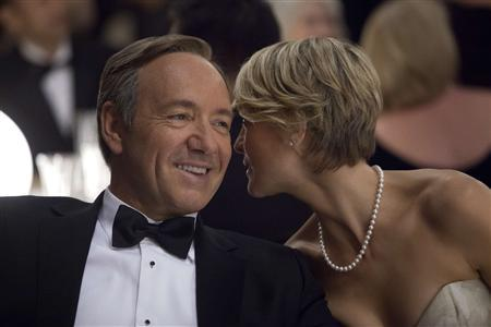 Actors Kevin Spacey (L) and Robin Wright are shown in a scene from Netflix's ''House of Cards'' in this publicity photo released by Netflix to Reuters January 30, 2013. REUTERS/Melinda Sue Gordon/Netflix/Handout