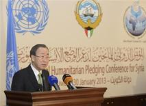 "U.N. Secretary-General Ban Ki-moon speaks to the media after the first day of the ""International Humanitarian Pledging Conference for Syria"" in Bayan Palace, Kuwait, January 30, 2013. Donor countries have pledged more than $1.5 billion to aid Syrians stricken by civil war, Ban said on Wednesday after warning that the conflict had wrought a catastrophic humanitarian crisis. REUTERS/Stephanie McGehee (KUWAIT - Tags: POLITICS SOCIETY)"