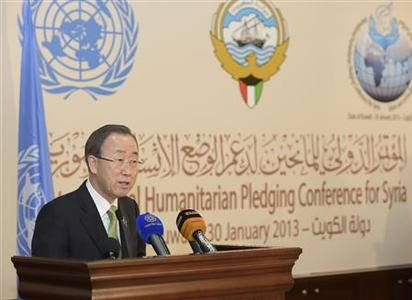 U.N. Secretary-General Ban Ki-moon speaks to the media after the first day of the ''International Humanitarian Pledging Conference for Syria'' in Bayan Palace, Kuwait, January 30, 2013. Donor countries have pledged more than $1.5 billion to aid Syrians stricken by civil war, Ban said on Wednesday after warning that the conflict had wrought a catastrophic humanitarian crisis. REUTERS/Stephanie McGehee (KUWAIT - Tags: POLITICS SOCIETY)