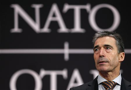NATO Secretary General Anders Fogh Rasmussen addresses a news conference during a NATO foreign ministers meeting at the Alliance headquarters in Brussels December 5, 2012. REUTERS/Francois Lenoir