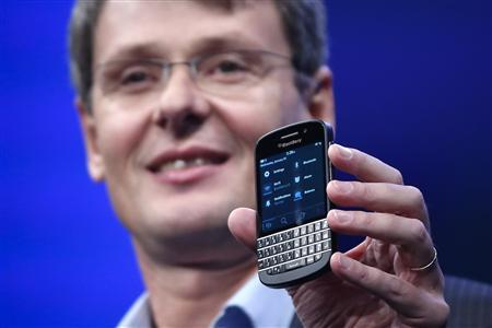 Research in Motion (RIM) President and Chief Executive Officer Thorsten Heins introduces a new RIM Blackberry 10 device during their launch in New York January 30, 2013. REUTERS/Shannon Stapleton