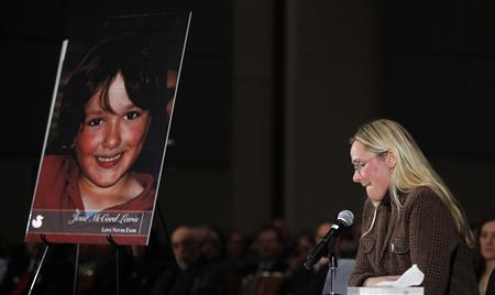 Scarlett Lewis, mother of Sandy Hook victim Jesse Lewis, speaks at a public hearing on gun control at Newtown High School in Newtown, Connecticut January 30, 2013. REUTERS/Carlo Allegri