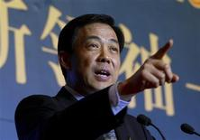 Bo Xilai, then Governor of Liaoning Province, gestures as he delivers a speech at the China Entrepreneur Annual Meeting 2003 in Beijing in this December 7, 2003 file photo. REUTERS/Jason Lee/Files