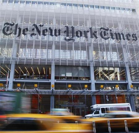 The facade of the New York Times building is seen in New York, November 29, 2010. REUTERS/Shannon Stapleton