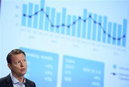 Ericsson's Chief Executive Hans Vestberg speaks during a news conference at the company's headquarters in Stockholm, in this picture taken by Scanpix January 31, 2013. REUTERS/Janerik Henriksson/Scanpix