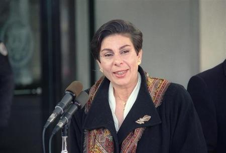Palestinian spokeswoman Hanan Ashrawi told reporters January 15, 1992 that Israel had rejected a demand to freeze its settlement of the West Bank and Gaza Strip, which has located more than 100,000 Jews in the densely populated Arab states. REUTERS/Bruce Young/Files