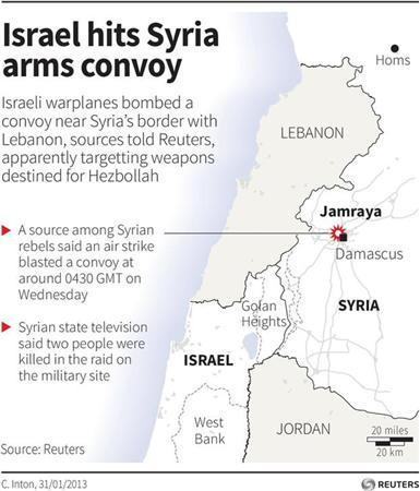 Map locating the Syrian town Jamraya which was hit by an Israeli air strike on Wednesday. REUTERS