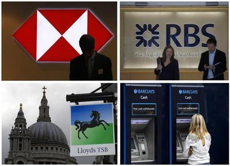 A combination of four photographs shows (top L-R) a worker silhouetted against an illuminated sign in a branch of HSBC; Two people walking out of the headquarters of the Royal Bank of Scotland; (bottom L-R) a Lloyds bank branch near St Paul's Cathedral and a customer using a Barclays ATM, in central London July 23, 2010. REUTERS/Andrew Winning