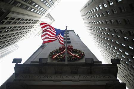 A flag is seen outside the New York Stock Exchange in New York, January 4, 2013. EUTERS/Eric Thayer