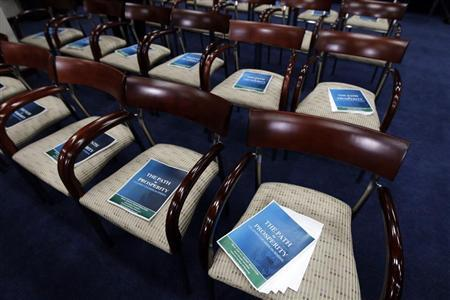 Copies of the ''FY2013 Budget - The Path to Prosperity'' are placed on the chairs of the news conference room at Capitol Hill in Washington March 20, 2012. REUTERS/Jose Luis Magana