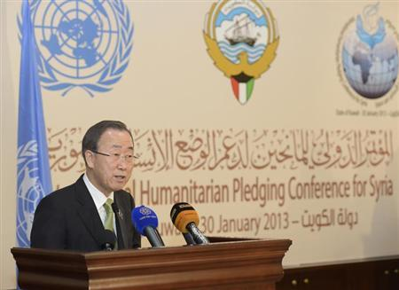 U.N. Secretary-General Ban Ki-moon speaks to the media after the first day of the ''International Humanitarian Pledging Conference for Syria'' in Bayan Palace, Kuwait, January 30, 2013. REUTERS/Stephanie McGehee