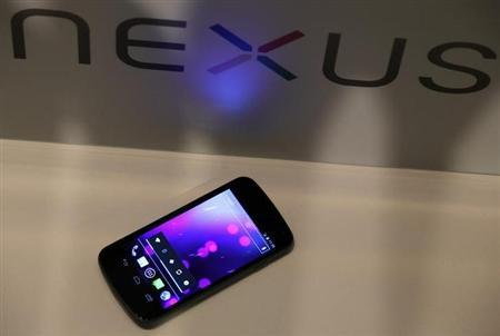 A Galaxy Nexus, the first smartphone to feature Android 4.0 Ice Cream Sandwich and a HD Super AMOLED display, is displayed during a news conference in Hong Kong October 19, 2011. REUTERS/Bobby Yip/Files