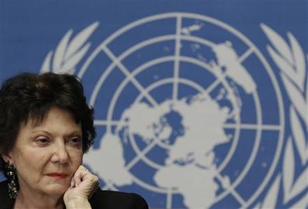 Christine Chanet, Head of a United Nations human rights Inquiry Commission pauses during a news conference in Geneva January 31, 2013. REUTERS/Denis Balibouse