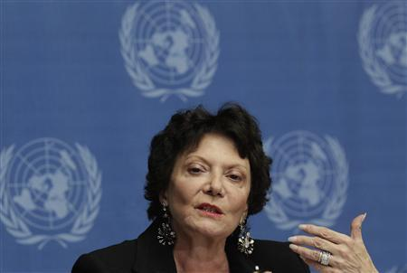 Christine Chanet, Head of a United Nations human rights Inquiry Commission gestures during a news conference in Geneva January 31, 2013. REUTERS/Denis Balibouse