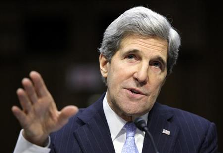 U.S. Senator John Kerry (D-MA) testifies during his Senate Foreign Relations Committee confirmation hearing to be secretary of state, on Capitol Hill in Washington, January 24, 2013. REUTERS/Jonathan Ernst