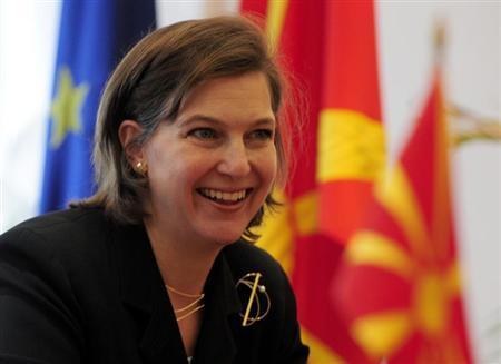 US ambassador to NATO Victoria Nuland gestures during a meeting with Macedonia's Prime Minister Nikola Gruevski (not pictured) in Skopje April 9,2008. REUTERS/Ognen Teofilovski