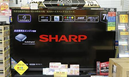 The logo of Sharp Corp is displayed on its Aquos television at an electronics store in Tokyo January 15, 2013. REUTERS/Toru Hanai/Files