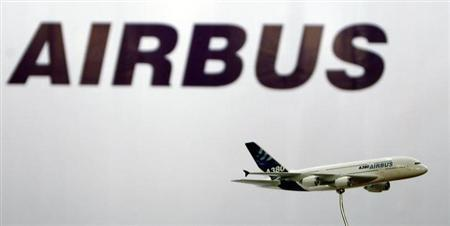 A miniature replica of Airbus A380 is seen in front of Airbus logo during a news conference in Mumbai May 9, 2007. REUTERS/Arko Datta/Files