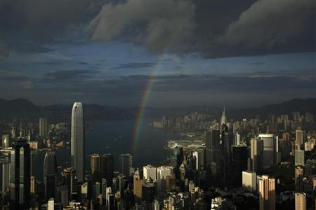 A rainbow arches over Hong Kong's Victoria Harbour June 19, 2012. REUTERS/Bobby Yip