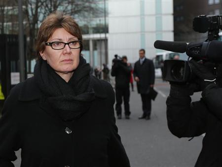 Metropolitan Police Detective Chief Inspector April Casburn leaves Southwark Crown Court in London January 10, 2013. REUTERS/Andrew Winning