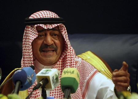 Saudi's then intelligence chief Prince Muqrin bin Abdul-Aziz, brother of Saudi's King Abdullah, gestures during a news conference in Riyadh November 24, 2007. REUTERS/ Ali Jarekji