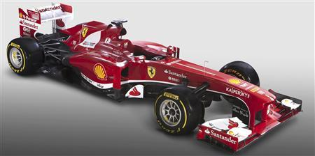 The new Ferrari F138 Formula One car is seen in this official undated handout image distributed by the Ferrari Press Office February 1, 2013. Ferrari's new Formula One car will be called the F138 with the name reflecting the year and the eighth and final season of V8 engines, the Italian team said on January 30, 2013. REUTERS/Ferrari Press Office/Handout