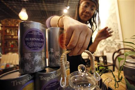 Tregothnan British tea is seen at a tea house in the Hongqiao Antique and Tea Center in downtown Shanghai January 25, 2013. REUTERS/Carlos Barria
