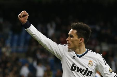 Real Madrid's Jose Maria Callejon celebrates his goal during their Spanish King's Cup soccer match against CD Alcoyano at Santiago Bernabeu stadium in Madrid November 27, 2012. REUTERS/Juan Medina/Files