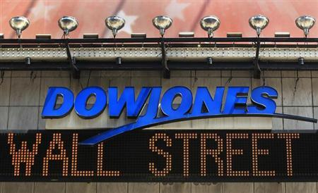 The Dow Jones financial electronic ticker is seen at Times Square in New York July 17, 2012. REUTERS/Shannon Stapleton/Files