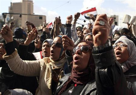 Anti-Mursi protesters shout during a protest in Tahrir Square in Cairo February 1, 2013. REUTERS/Mohamed Abd El Ghany