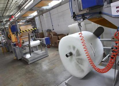 A machine that makes bubble wrap padded envelopes is pictured at the Wrap-Tite manufacturing facility in Solon, Ohio July 13, 2012. REUTERS/Aaron Josefczyk