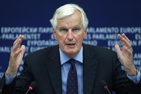 European Commissioner for Internal Market and Services Michel Barnier addresses journalists during a press briefing at the European Parliament in Strasbourg, September 12, 2012. REUTERS/Vincent Kessler